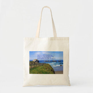 Proverbs Ocean Path Bible Tote Bag