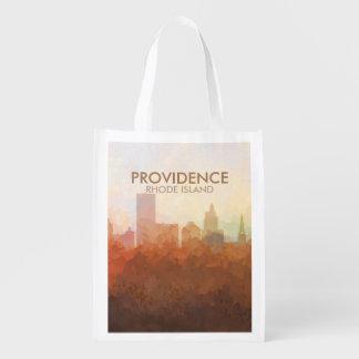 Providence, horizon d'Île de Rhode EN NUAGES Sac Réutilisable D'épcierie