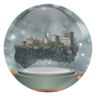 Providence Island Snow Globe Plate