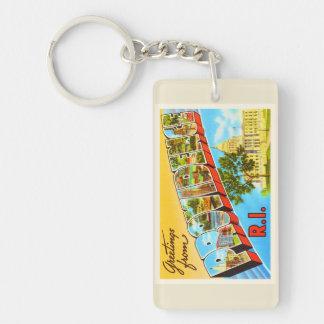 Providence Rhode Island RI Vintage Travel Souvenir Double-Sided Rectangular Acrylic Keychain