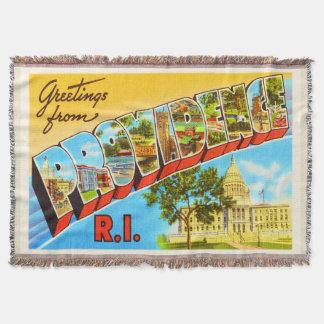 Providence Rhode Island RI Vintage Travel Souvenir Throw Blanket