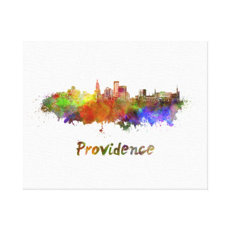 Providence skyline in watercolor canvas print
