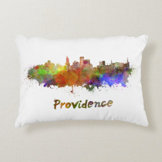 Providence skyline in watercolor decorative pillow
