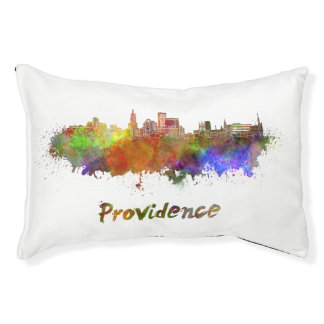 Providence skyline in watercolor pet bed