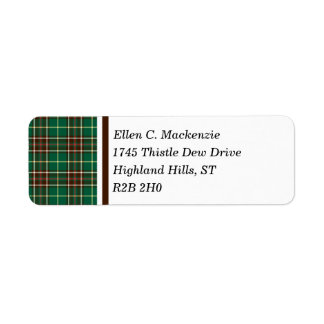 Province of Newfoundland Canada Tartan Return Address Label