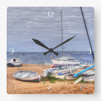Provincetown Boats on the Harbor Square Wall Clock