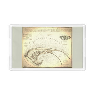 Provincetown Cape Cod Map, Old Vintage Acrylic Tray
