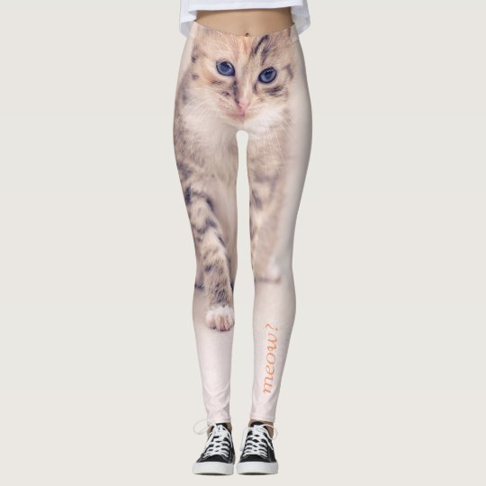 "Provocative cute cat ""meow?"" leggings by Qunamax"