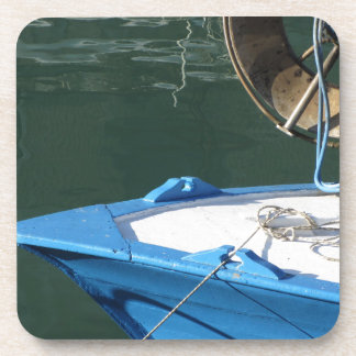 Prow of a wooden fishing boat with trawl winch coaster