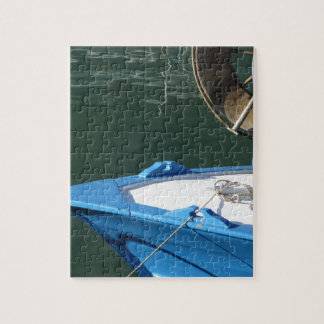 Prow of a wooden fishing boat with trawl winch jigsaw puzzle