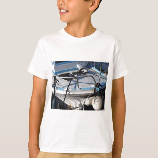 Prow of fishing boat moored in the harbor T-Shirt