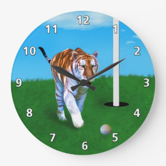 Prowling Tiger and Golf Ball Customizable Large Clock