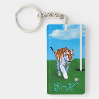 Prowling Tiger and Golf Ball with  Monogram Double-Sided Rectangular Acrylic Keychain