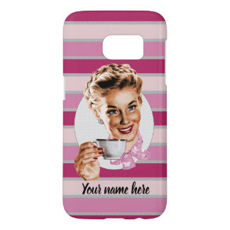 Pru with Pink Stripes Samsung Galaxy S7 Case