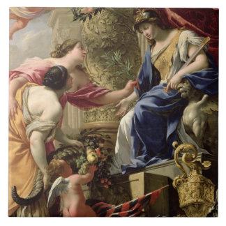 Prudence Leading Peace and Abundance, c.1645 (oil Tiles