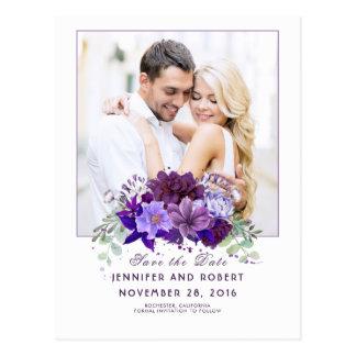 Prune et économies florales pourpres violettes la carte postale