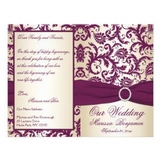 Prune et programme de Champagne mariage damassé Prospectus 21,6 Cm X 24,94 Cm