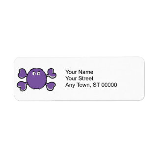 prurple fuzzy monster Skull purple Crossbones Return Address Label