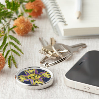 Prussia Silver-Colored Round Keychain