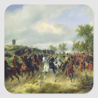 Prussian cavalry on expedition, c.19th square sticker