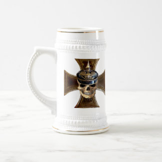 Prussian skull w iron cross beer stein