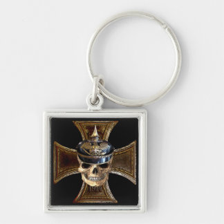 Prussian skull w iron cross Silver-Colored square keychain