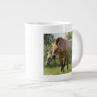 Przewalski's Horse and foal walking Large Coffee Mug