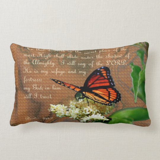 "Ps91 Butterfly Throw Pillow Lumbar 13"" x 21"""