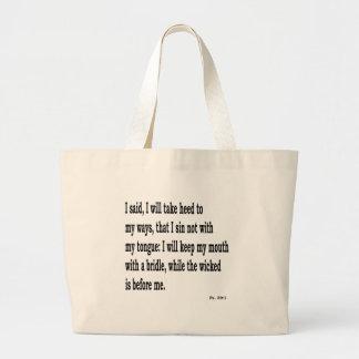 Ps. 39:1,w large tote bag