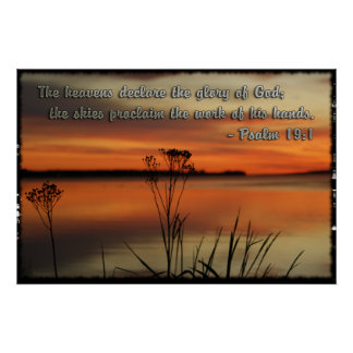 PSALM19:1 LAKE SUNSET  DECLARE GLORY GOD POSTER