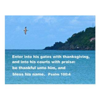 Psalm 100:4 postcard