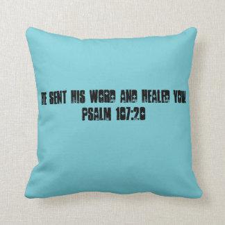 Psalm 107:20 throw pillow