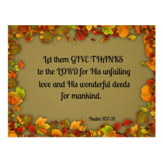 Psalm 107:31 Let them give thanks to the Lord... Postcard