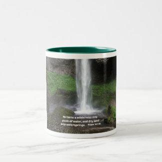 Psalm 107:35 He turns a wilderness into... Two-Tone Coffee Mug