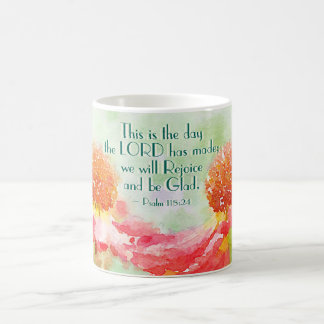Psalm 118:24 This is the Day, Watercolor Flowers Coffee Mug