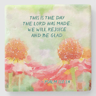 Psalm 118:24 This is the Day, Watercolor flowers Stone Coaster