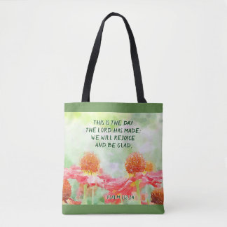 Psalm 118:24 This is the Day, Watercolor Flowers Tote Bag