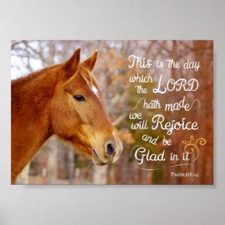 Psalm 118 Bible Verse Chestnut Horse Poster