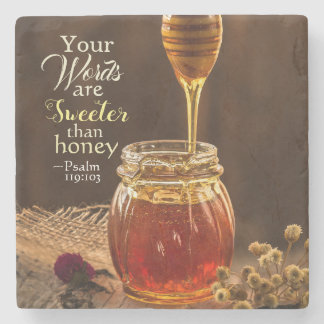 Psalm 119:103 Your Words are Sweeter than Honey Stone Coaster