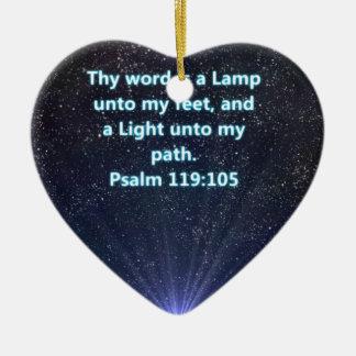 Psalm 119 bible verse ceramic heart ornament