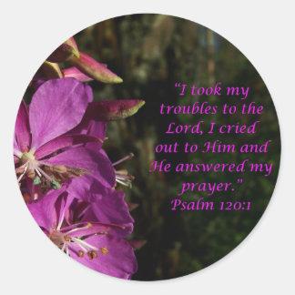 Psalm 120:1 Lovely Purple Flower Sticker