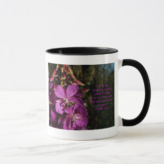 Psalm 120:1 Purple Flower Encouragement Mug