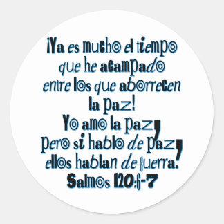 Psalm 120:6-7 classic round sticker