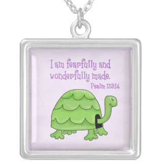 psalm 139:14 kids christian turtle silver plated necklace