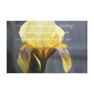Psalm 139:14 Yellow Zebra Iris Canvas Print