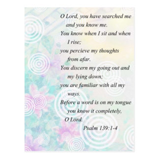 Psalm 139 and flower postcard