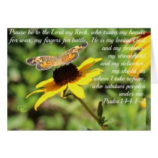 Psalm 144:1-2 Golden Blackeyed Susan Butterfly Card