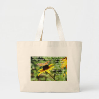 Psalm 144:1-2 Golden Blackeyed Susan Butterfly Large Tote Bag