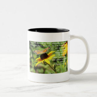 Psalm 144:1-2 Golden Blackeyed Susan Butterfly Two-Tone Coffee Mug