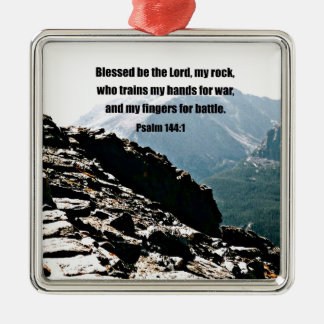 Psalm 144:1  Blessed  be the Lord... Metal Ornament